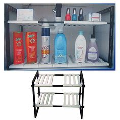 2 Tier Expandable Adjustable Under Sink Shelf Organizer Unit Kitchen Shelves New