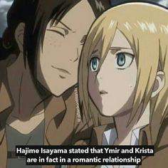 IT'S CANON!! Ymir and Krista YumiKuri - Attack on Titan / Shingeki no Kyojin<<<YEEEEEEEESSSSSSS! I'M SO HAAAAAPPPPYYY!