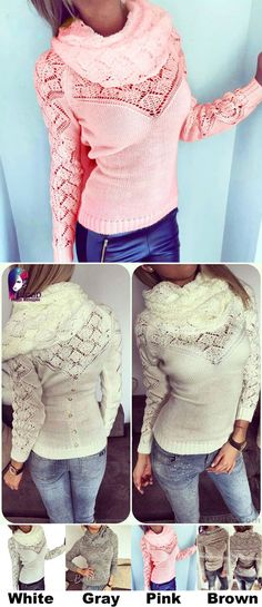 Unique Hollowd-out Whole Color Heaps Fashion Women s Collar Sweater for big  sale!   990a6a5f0