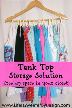 Do you need more space in your closet? This handy way to store tank tops will help you organize your clothes!
