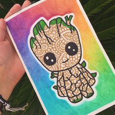 I Am Groot Drawing of Groot Doodle Art Drawing, Zentangle Drawings, Mandala Drawing, Cool Art Drawings, Art Drawings Sketches, Flower Drawings, Zen Doodle, Sharpie Drawings, Sharpie Art