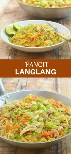Pancit Langlang is a delicious combination of fresh miki and cellophane noodles with ground pork, flaked chicken, and tender-crisp vegetables. Hearty and tasty, it's perfect for family dinners or special gatherings. Lunch Recipes, Dinner Recipes, Cooking Recipes, Healthy Recipes, Delicious Recipes, Delicious Dishes, What's Cooking, Amazing Recipes, Easy Recipes