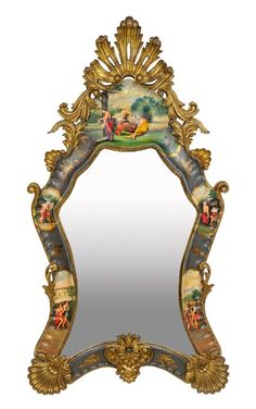 lot 69  A VENETIAN ROCOCO STYLE PARCEL GILT AND PAINTED MIRROR Mid-Late 19th Century A kidney form mirror with parcel gilt and painted vignettes featuring musicians, writers and youth in pastoral scenes with carved coquilles and scrolling foliate details. Minor losses and wear to paint and gilding. 59½ x 32¼ x 5½ inches