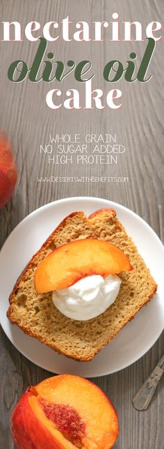Healthy Nectarine Olive Oil Pound Cake! Yes, olive oil in a dessert, and it works! This light cake is perfectly sweet and 100% satisfying. Made with whole wheat flour, yogurt, and organic extra virgin olive oil, and none of the butter or sugar… but you'd never know it!
