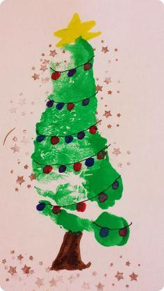 Tannenbaum Fußabdruck als Weihnachtskarte / fraukskleinewelt.blogspot.de