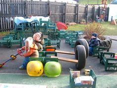 The large planted tire shows how we can bring wild Nature into the Loose Parts area. Perhaps we could have parents sponsor trees, to shade Loose Parts Outdoor Learning Spaces, Kids Outdoor Play, Outdoor Play Areas, Outdoor Fun, Toddler Playground, Natural Playground, Outdoor Playground, Outdoor Classroom, Outdoor School
