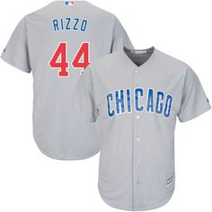 ed686a443 Men s Chicago Cubs Anthony Rizzo Majestic Gray Official Cool Base Player  Jersey