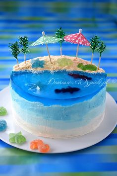 Ocean Cakes, Beach Cakes, Cake Decorating Videos, Cake Decorating Techniques, Cupcakes Decorating, Torta Minion, Luau Birthday Cakes, Island Cake, Jello Cake