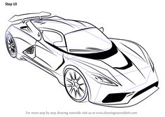Learn How to Draw Venom (Sports Cars) Step by Step : Drawing Tutorials Sports Drawings, Car Drawings, Drawing Sketches, Sketching, How To Draw Venom, Cars Coloring Pages, How To Style Bangs, Drawing For Kids, Learn Drawing