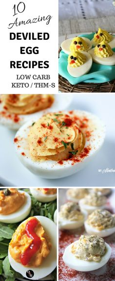10 Deviled Egg Recipes for Spring - these low carb deviled egg recipes make ente. 10 Deviled Egg Recipes for Spring - these low carb deviled egg recipes make entertaining a breeze. Deviled eggs make an easy protein source, too! Sugar Free Recipes, Egg Recipes, Low Carb Recipes, Healthy Recipes, Yummy Appetizers, Appetizer Recipes, Snack Recipes, Keto Snacks, Mushroom Appetizers