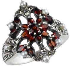 Garnet Fire Burst Silver Natural Seed Pearl Ring - Dahlia Vintage Collection: Jewelry: Amazon.com
