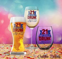 21 and Legally Drunk, 21st Birthday Glass, 21st Birthday Present, Legal Drinking Age, Present for Woman or Man, College Student Care Package by Cre8tiveDeZinez on Etsy