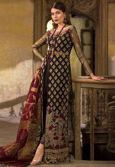 Wholesale Online Black Net Party Wear Pakistani Suits Rosemeen ZC 32001 Set By Fepic Eid Dresses, Pakistani Bridal Dresses, Pakistani Dress Design, Pakistani Suits, Indian Dresses, Salwar Kameez, Salwar Suits, Sharara Suit, Bridal Shrug