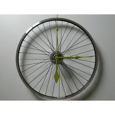 UpCycled Mountain Bike Wheel Bicycle Wall Clock found on Polyvore