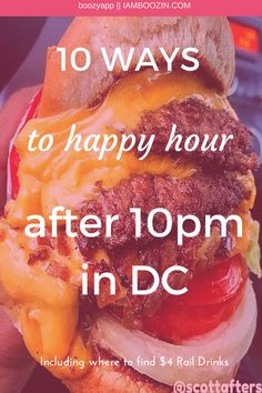 DC Happy Hour   10 Ways To Happy Hour After 10 pm In DC including where to find $4 rail drinks...Click through for more! Late Night Happy Hour, Bottomless Mimosas, Bloody Mary Bar, Happy Hour Specials, Best Happy Hour, 10 Pm, Chicken And Waffles, Cocktails, Drinks