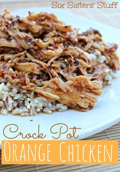 Crock Pot Orange Chicken--I accidentally used 1/3 cup peach-apricot jam (+ 1/2 cup BBQ sauce + 2 Tbsp soy sauce + 3 frozen chicken breasts + sprinkle of ginger & garlic powder), but it was delicious over rice!