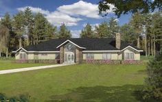 Expansive Ranch With Equally Expansive Deck (HWBDO76842) | Ranch House Plan from BuilderHousePlans.com
