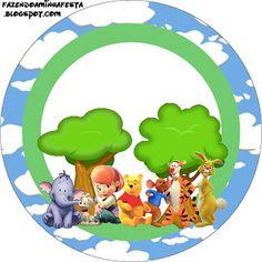 Winnie de Pooh y sus amigos: etiquetas para imprimir gratis.
