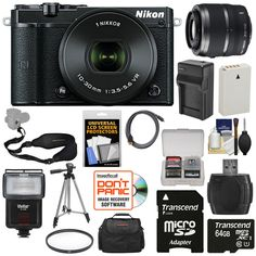 Nikon 1 J5 Wi-Fi Digital Camera & 10-30mm Lens (Black) with 30-110mm VR Zoom Lens + 64GB Card + Battery + Charger + Strap + Case + Tripod + Flash + Filter Kit. KIT INCLUDES 16 PRODUCTS -- All BRAND NEW Items with all Manufacturer-supplied Accessories + Full USA Warranties:. [1] Nikon 1 J5 Wi-Fi Digital Camera & 10-30mm Lens (Black) + [2] Nikon 1 30-110mm VR Lens + [3] Transcend 64GB microSDXC Card + [4] Spare EN-EL24 Battery +. [5] Battery Charger + [6] Vivitar SF-4000 Slave Flash + [7]...