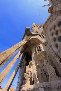 Passion Facade of La Sagrada Familia designed by Antoni Gaudi, Barcelona, Spain Copyright: Eric Daniels