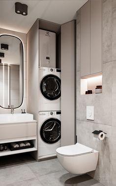 VYD39 on Behance Laundry Room Bathroom, Modern Laundry Rooms, Laundry Room Remodel, Small Bathroom, Master Bathroom, Kitchen Room Design, Home Room Design, Home Interior Design, Bathroom Design Luxury