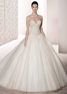 Demetrios Wedding Dress - Style 724 : This shimmering ball gown with richly beaded bodice and sweetheart neckline features sheer illusion on the sleeves and upper neckline with sunbursts of crystals and beading. Bridal Party Dresses, Wedding Dresses Photos, Princess Wedding Dresses, Wedding Dress Styles, Bridal Gowns, Wedding Gowns, Wedding Pics, Bridal Dress Design, Dress Attire