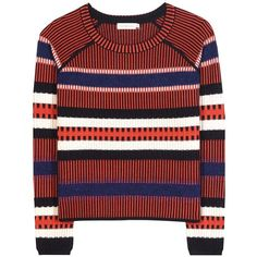 Tory Burch Monterey Striped Wool-Blend Sweater (2.735 DKK) ❤ liked on Polyvore featuring tops, sweaters, multicoloured, colorful striped sweater, colorful sweaters, multi colored sweater, tory burch and multicolor sweater