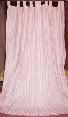 Vintage French Country Cottage Victorian Chic Pink White Ticking Drapes Curtains