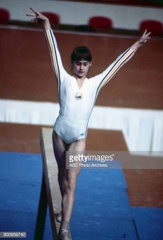 Nadia Comaneci At Women's Gymnastics Competition At The 1984 Summer Olympics