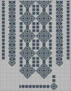 Beading _ Pattern - Motif / Earrings / Band ___ Square Sttich or Bead Loomwork ___ Blackwork Patterns, Blackwork Embroidery, Beaded Embroidery, Cross Stitch Embroidery, Loom Patterns, Beading Patterns, Embroidery Patterns, Cross Stitch Borders, Counted Cross Stitch Patterns
