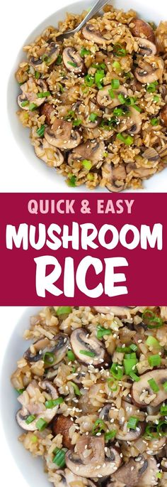 SO GOOD and can be made into a… EASY, delicious 6 ingredient Asian Mushroom Rice! SO GOOD and can be made into a main dish as well – see tips on the recipe page! Rice Recipes, Asian Recipes, Whole Food Recipes, Cooking Recipes, Asian Foods, Stuffed Mushrooms, Delicious Vegan Recipes, Healthy Recipes, Mushrooms