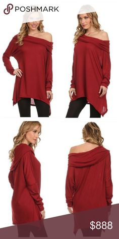 "✨SALE ✨ Red Off the Shoulder Oversized Top This top is perfect for transitional weather 🍂  Great to show off your neckline. Soft, comfy & hint of sexy. Can be styled so many ways.   Knit fabric (Not see through) • 87% Poly, 9% Rayon, 4% Spandex • Brand Fashionomics   Modeling: S/M (Typically a XS, so top is large on me)  Styled with ""High Waisted Cut Out Knees Leggings"". Also available in my closet.   PRICE FIRM, unless bundled ⟨Bundle & save ≫ One time shipping fee⟩ NO trades Fashionomics…"