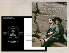 Rustic Boho Vintage Photo Save the Date Postcard