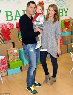 Jessica Alba's The Honest Company presented the third annual Baby2Baby Holiday Party, and she was joined by daughter Haven, two, and husband Cash Warren. (December 14, 2013)