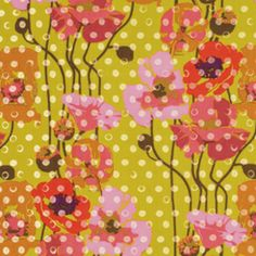 Anna Maria Horner - Field Study Rayon Challis - Raindrops Poppies in Meringue Fabric
