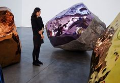 Sculptor Jim Hodges (1957) created a compelling installation at Barbara Gladstone's 21st St. location in NY, grouping 4 large scale boulders around a central void.