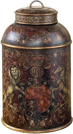 Lion Crest Tea Caddy - love it Tea Canisters, Tea Tins, Tea Caddy, Chinoiserie, Cuppa Tea, Tea Strainer, Vintage Tins, Tin Boxes, Tea Accessories