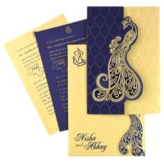 NDS53, Blue Color, Shimmery Finish Paper, Designer Multifaith Invitations.