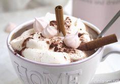 Hot cocoa with vanilla and cream Yummy Drinks, Cocoa, Vanilla, Ice Cream, Hot, Desserts, No Churn Ice Cream, Tailgate Desserts, Deserts