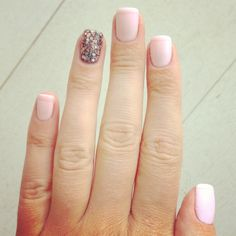 Matte and glossy French manicure with a sparkle ring finger. Www.fashionwhipped.com