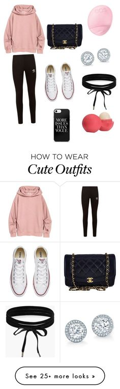 """""""Cute Casual Outfit """" by lsantana13 on Polyvore featuring adidas Originals, Converse, Chanel, Boohoo and Eos"""