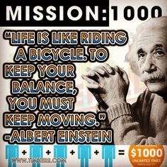 """""""Life is like riding a bicycle. To keep your balance, you must keep moving."""" -Albert Einstein (Wurttemberg Physicist 1879-1955) #quoteoftheday #AlbertEinstein #SeacretLimitless #AgentDestination  #MissionBahamas #SeacretDirect  #Seacret  #MudMaskMonday #SeacretACT #SeacretAgent  #TimHerr  #TimothyHerr #TimHerr.com"""