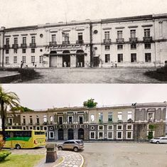 """THE ADUANA BUILDING  Location: Soriano St., Cor. Muralla St., Intramuros Manila Philippines Wayback 189O's *Aduana Building also known as the """"Intendencia"""" *Spanish Engineer Tomaś designed of Aduana 1823-1829 *During WWII, the building once again suffered damages; First by the Japanese bombings in 1941 and later on by the American and Filipino military artillery during the Battle of Manila of 1945 *Its eventually abandonment was in 1979 *Partly restored by the National archives in 1998 Philippine Architecture, Intramuros, Filipiniana, Adaptive Reuse, Manila Philippines, National Archives, Abandoned Buildings, Filipino, Monuments"""