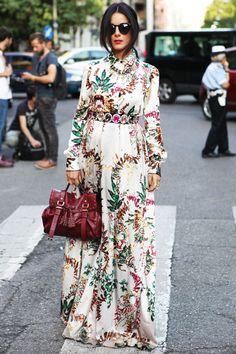 Gilda Koral Flora in a floral-print maxi dress #MFW #Milan #StreetStyle