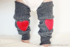 Valentine's Day Baby Leg Warmers made from an old sweater