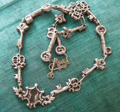 faux metal polymer clay vintage key necklace