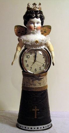 """Doll - Altered Art Assemblage - """"Time Flys Beauty"""" by Michelle Bracewell Found Object Art, Found Art, Scrap Metal Art, Creepy Dolls, Doll Parts, Old Dolls, Assemblage Art, Doll Head, Recycled Art"""