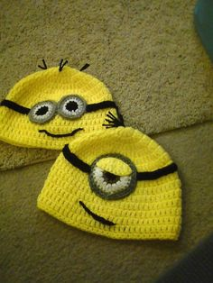 Minion hat.  must make one for each of my children so they can ware them on cinderella day while cleaning the house... makes chores a little more fun with a costume :)