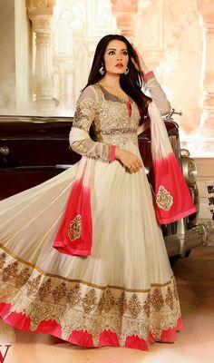 Celina Jaitley Beige Georgette Long Anarkali Suit Price: Usa Dollar $148, British UK Pound £87, Euro109, Canada CA$161 , Indian Rs7992.