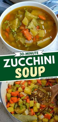 5 reviews · 35 minutes · Gluten free · Serves 6 · A quick and easy family dinner idea ready in just 30 minutes! This hearty zucchini soup combines onions, carrots, celery, potatoes, garlic, zucchini, and fresh thyme in perfectly seasoned vegetable… Zucchini Vegetable, Zucchini Soup, Vegetable Soup Recipes, Vegetable Side Dishes, Easy Zucchini Recipes, Best Potato Recipes, Potatoe Casserole Recipes, Healthy Recipes, Favorite Recipes